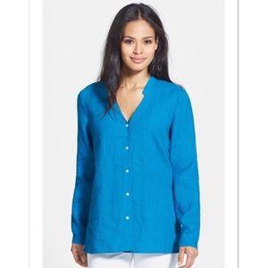 NWT Eileen Fisher Linen Mandarin Collar Button Up